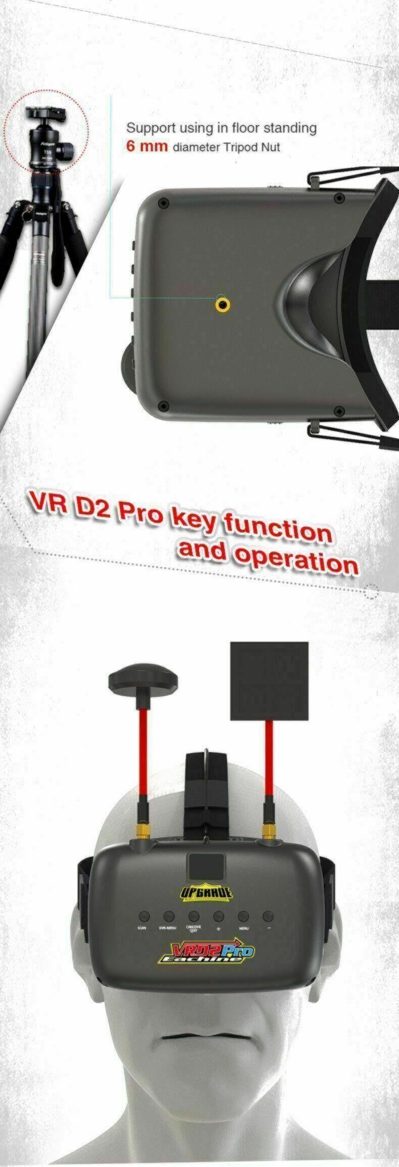 Eachine VRD2 PRO - FPV Video Goggles   Monitor /w Diversity RX